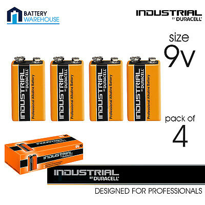 4 x Duracell Industrial Alkaline 9v Battery - Pack of 4 | MN1604 LR22