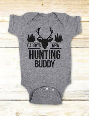 Daddy's New Hunting Buddy - baby surprise birth announcement baby bodysuit shirt