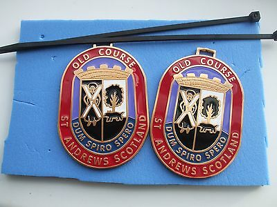 DOUBLE SIDED New Design OLD COURSE ST ANDREWS Metal Bag Tag & Tier