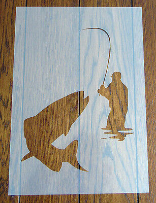 'Gone Fishing' Stencil Reusable Mylar Sheet for Arts & Crafts, DIY