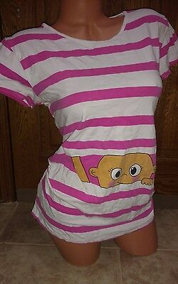 Size Large Peek A Boo Baby Pink Striped Maternity Shirt Funny Tee Top Ruched