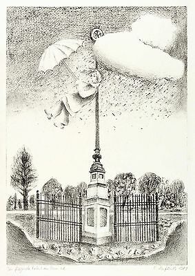 RENATE HERFURTH - DER FLIEGENDE ROBERT IM ROSENTAL - Lithografie 1981