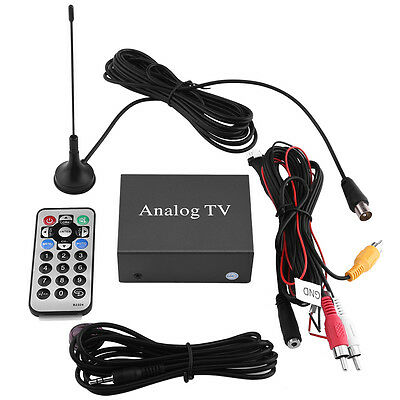 Car DVD TV Receiver Analog TV Tuner Strong Signal Box W/ Antenna Set Durable 12V