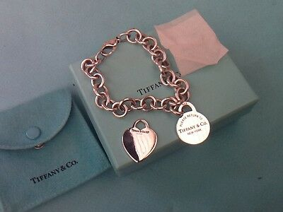 Return to Tiffany Round Tag & Plain Heart Bracelet  Sterling Silver Genuine
