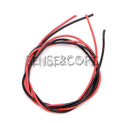 16 Gauge AWG Silicone Rubber Wire Cable 1meter Red &1meter Black Flexible für RC