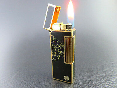 RARE!! Dunhill Rollagas Lighter Black Lacquer & Gold Dusts SWISS MADE [864]