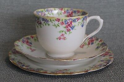 """Vintage Crown China """"Maytime"""" Tea Cup Saucer And Plate"""