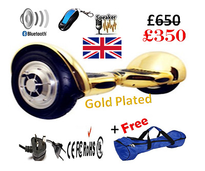 "Gold Plated 10"" Bluetooth Speaker Hoverboard Electric Scooter Swegway,Safe £599"
