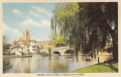 Postcard showing The Bridge & Chuch, Henley-On-Thames.