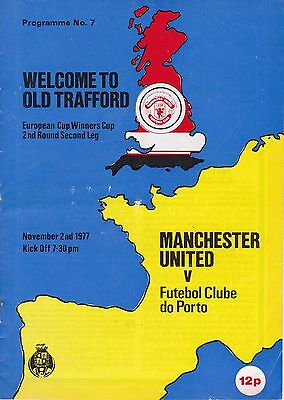 MANCHESTER UNITED v FC PORTO ~ CUP WINNERS' CUP ~ 2 NOVEMBER 1977