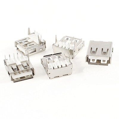 Uxcell USB Female A 4-Pin PCB Mount 90 Degree Jack Socket Connector, 5 Pieces