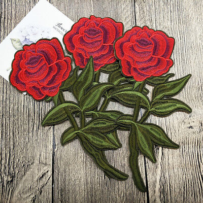 Embroidered Sew on Iron on Rose Flower Patches Applique Badge Motif Fabric Craft
