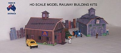 HO Scale Country Farm Shed Barn x 2, Model Railway Building Kit - CFSB1