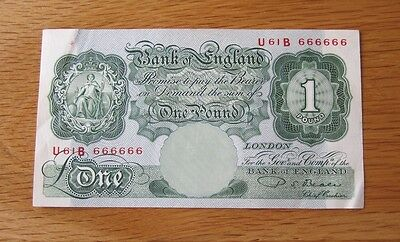 Bank Of England Beale £1 One Pound Banknote - Very Rare Serial U61B 666666