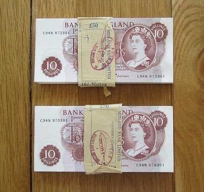 BANK OF ENGLAND FFORDE 10s TEN SHILLING BANKNOTE - CONSECUTIVE LOT OF 100 x NOTE