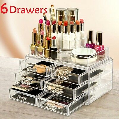 6 Drawers Clear Acrylic Cosmetic Makeup Display Storage Box Jewelery Organiser