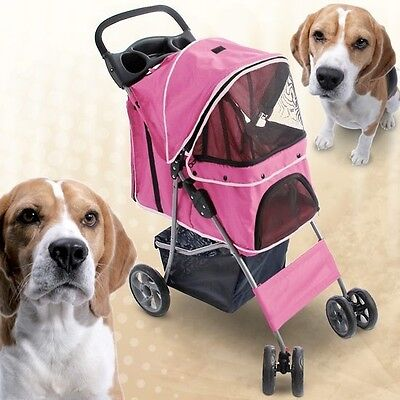 NEW Durable Functional Dog Bike Trailer Jogging Pushchair Weather-proof Pink UK