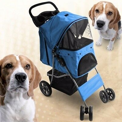 NEW Durable Functional Dog Bike Trailer Jogging Pushchair Weather-proof Blue UK