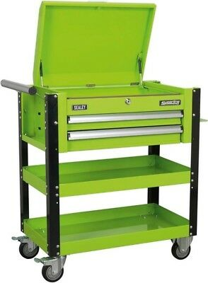 Sealey Heavy-Duty Mobile Tool & Parts Trolley 2 Drawers & Lockable Top - Green
