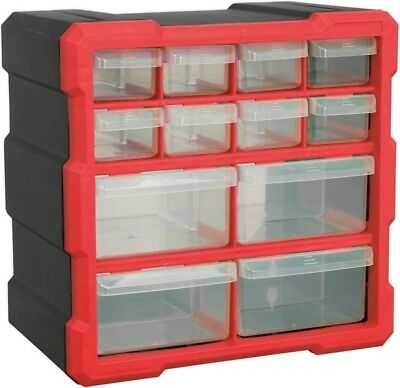 Sealey Durable Cabinet Storage Box 12 Drawers - Red/Black