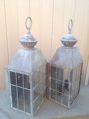 Pair Antique Copper Glass Outdoor Porch Sconce Light Fixture Vintage Need TLC