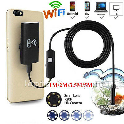 Wireless Wifi Borescope Endoscope 6 LED Inspection Camera For iPhone iOS Android