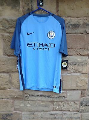 Brand New With Tags Manchester City FC 2016/17 Nike Home Shirt Blue Medium