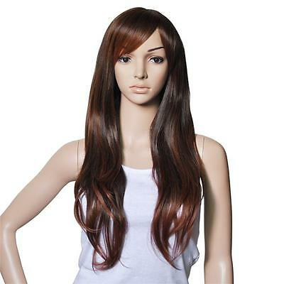 Ladies FULL Long WIG Wavy Curly Loose Waves SHADES Light Brown Natural Look