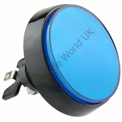 1 x High Profile 60mm Illuminated Arcade Button Blue with Microswitch & 12V LED