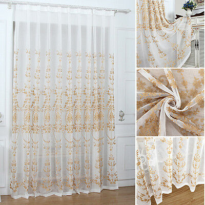Luxury Embroider Window Curtain Floral Tulle Voile Drape Panel Sheer Valance