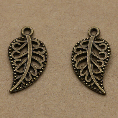 Wholesale 35pcs Tibet silver Delicate Leaves Charm Pendant beaded Jewelry18x10mm