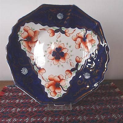 "Antique Gaudy Welsh Decagon 10 Sided Cake Plate 21.5cm / 8½"" - Pattern #101"