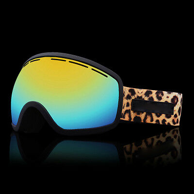Leopard Print  Windproof Anti-Fog Sports Snowmobile Snowboard SKI Snow Goggles