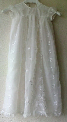 VINTAGE 1960s Nylon Lace Embroidered Christening Gown 0-3month