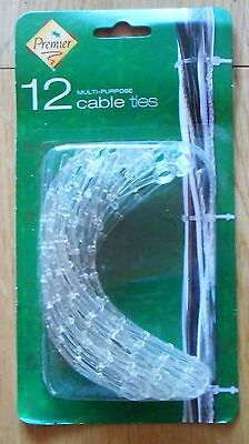 12 Reusable Clear Cable Ties Binding Leads Christmas Lights Decorations Garlands