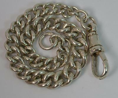 """Quality Solid Silver Pocket Watch Chain Bracelet 7"""" Long"""