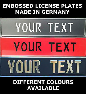 Euro European License Plate Number Plate Custom Text Embossed Color Colour Logo