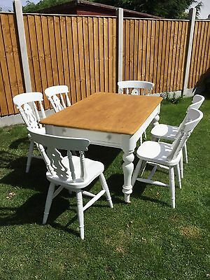 Farm House Pine Dining Table And 6 Chairs