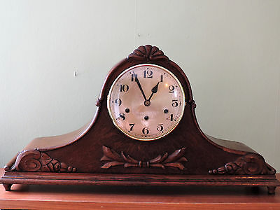 Large German Westminster Chime Napoleon Hat Tambour Mantle Clock 1920's