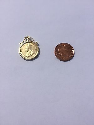 18 Carat Yellow Gold Plated Solid Silver 1918 Sixpence Pendant