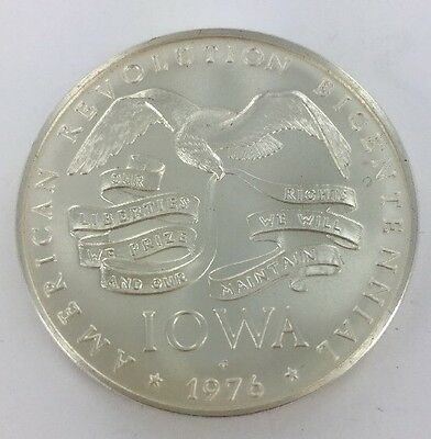 1976 American Revolution Bicentennial IOWA Sterling Silver Coin / Medal