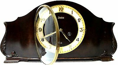 ART DECO JUNGHANS 30,s CHIMING MANTEL CLOCK WITH PENDULUM and KEY