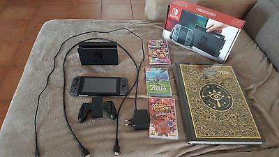 Lot Nintendo Switch + 3 jeux + Guide Prestige Zelda **NEUF**