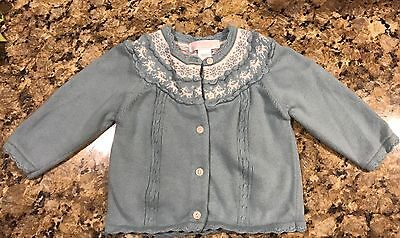"Infant Girl's ""janie And Jack"" Blue Ox Yolk Cardigan Size 6-12 Mos"
