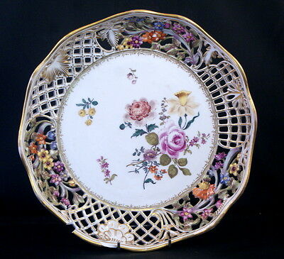 Antique Messen Porcelain Handpainted Scalloped Dish/ Plate