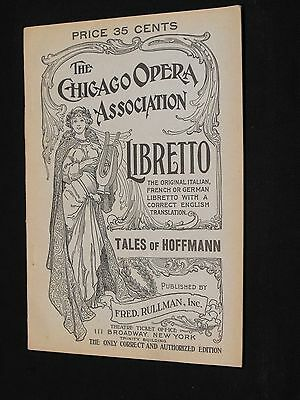 The Chicago Opera Association Libretto - 1917 - Tales of Hoffmann program