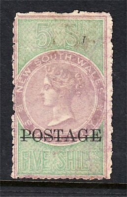 """New South Wales 5/- Green Qv Long Type Duty Overprinted """"postage Mint Ng? (G10)"""