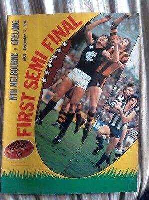 AFL VFL Football Record North Melbourne v Geelong 1976 First Semi Final
