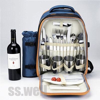 Picnic Backpack For 4 Persons With Cooler Compartment Wine Cutlery Wares Holder
