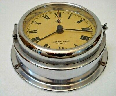 "Vintage ""KOMAPS"" RIJEKA Marine Ship's BRASS WALL Clock - SHIP'S ORIGINAL (1434)"